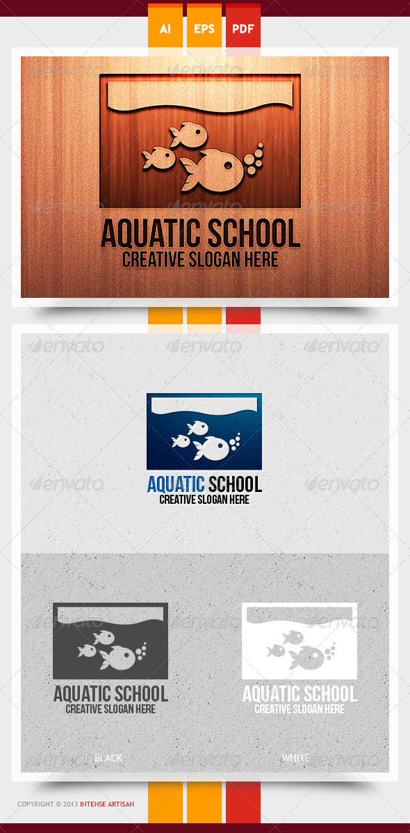 Aquatic School Logo Template - Animals Logo Templates