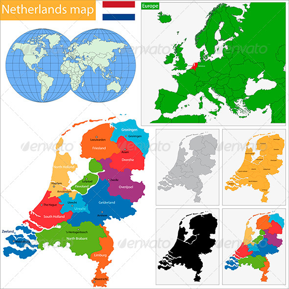 Netherlands Map - Travel Conceptual