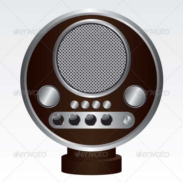 Retro Radio Brown Illustration - Technology Conceptual