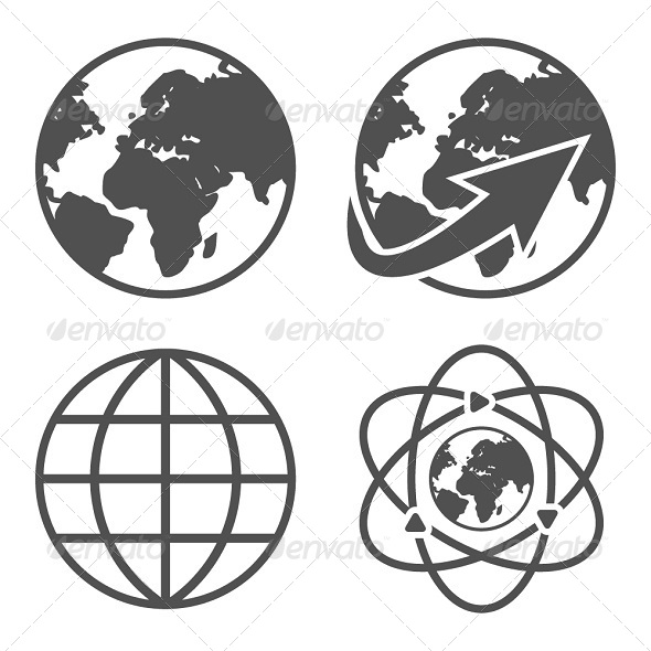 Globe Earth Icons Set - Technology Icons