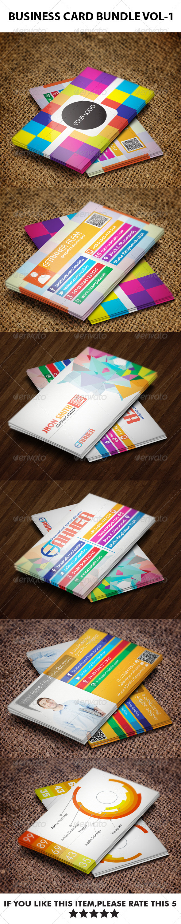 3 in 1 Business Cards Bundle VOL-1 - Business Cards Print Templates