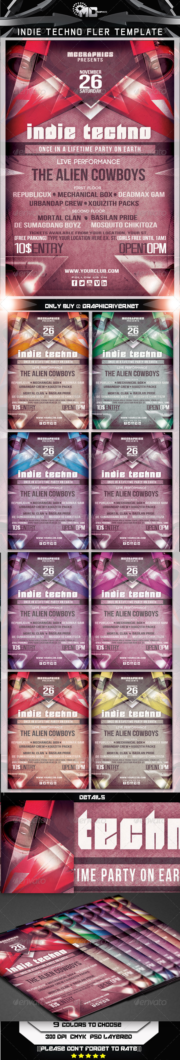 Indie Techno Flyer Template - Clubs & Parties Events