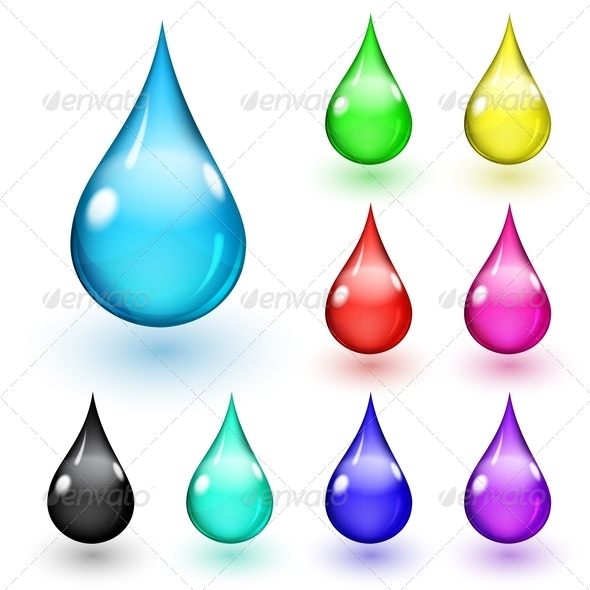 Multicolored Drops - Decorative Symbols Decorative