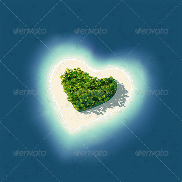 Heart Shaped Tropical Island - Travel Conceptual