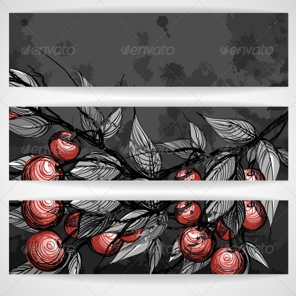 Cherries with Leaves - Backgrounds Decorative