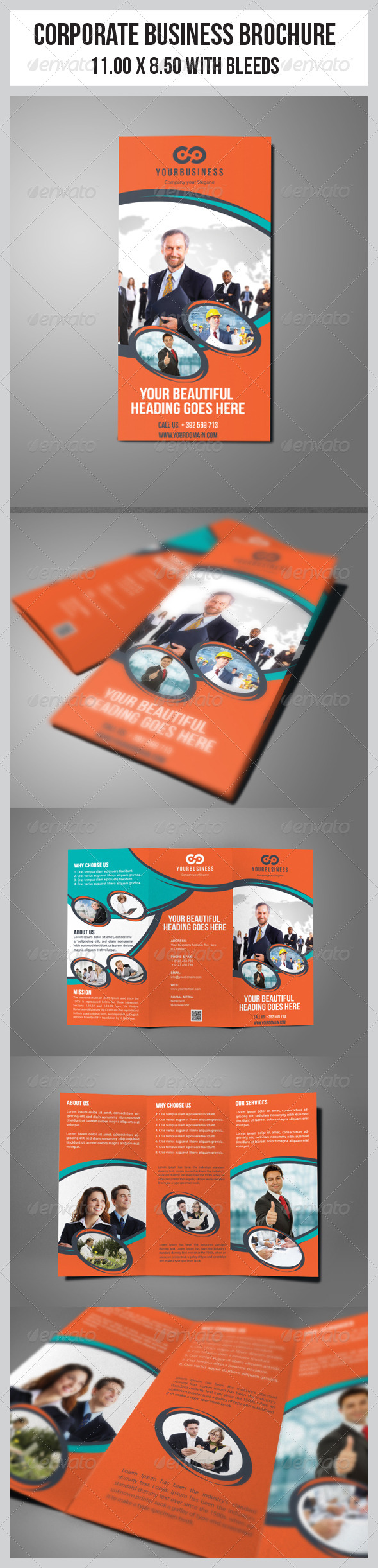 Multipurpose Business Tri-Fold Template  - Corporate Brochures