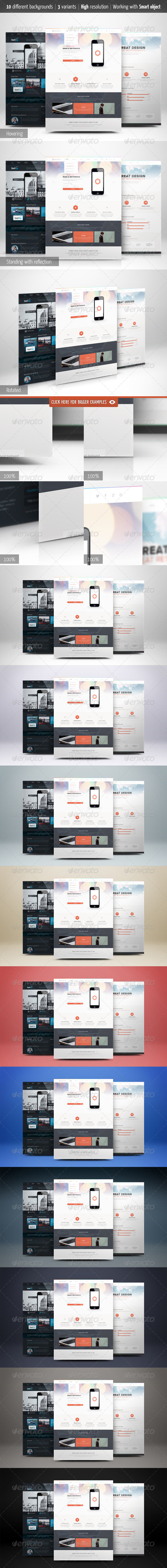 Web Page Presentation Mockup with Studio Backdrops - Website Displays