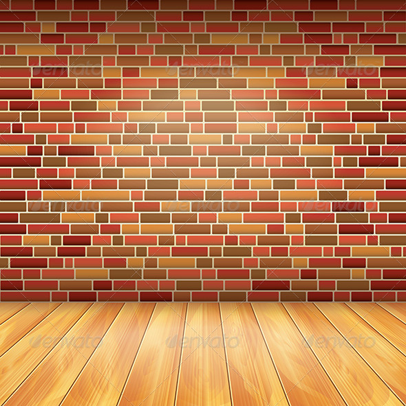 brick wall and wood floor vector background by andegro4ka