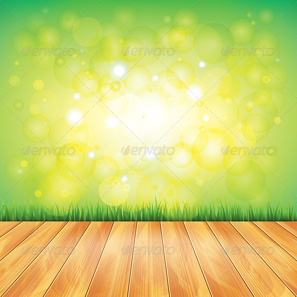 Wood Floor and Green Grass, Vector Background - Landscapes Nature