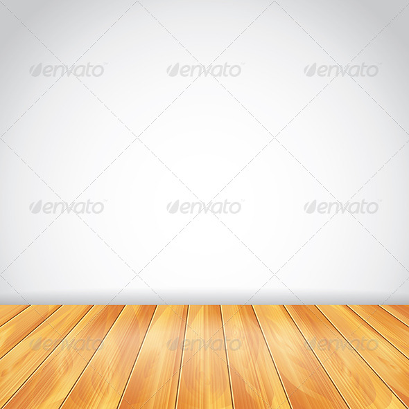 White Wall and Wood Floor, Vector Background - Buildings Objects