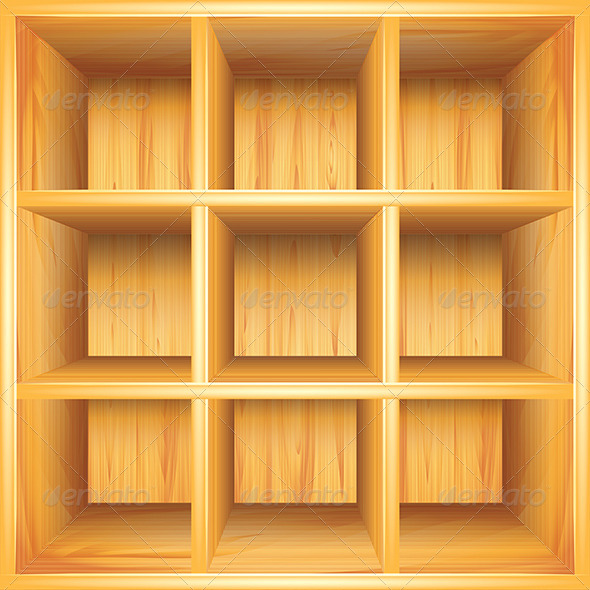 Wooden Bookshelf, Vector Background - Backgrounds Decorative