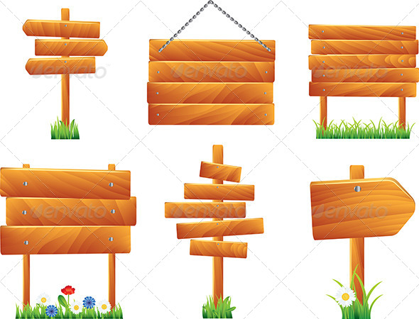 Wooden Signs and Boards, Vector Set - Miscellaneous Vectors