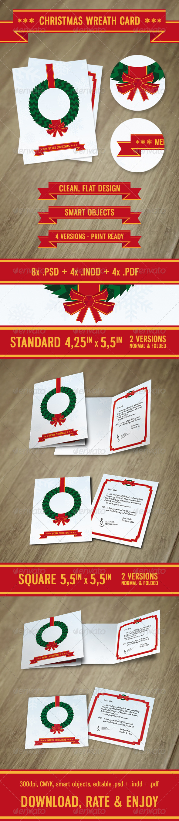Christmas Wreath Card - Holiday Greeting Cards