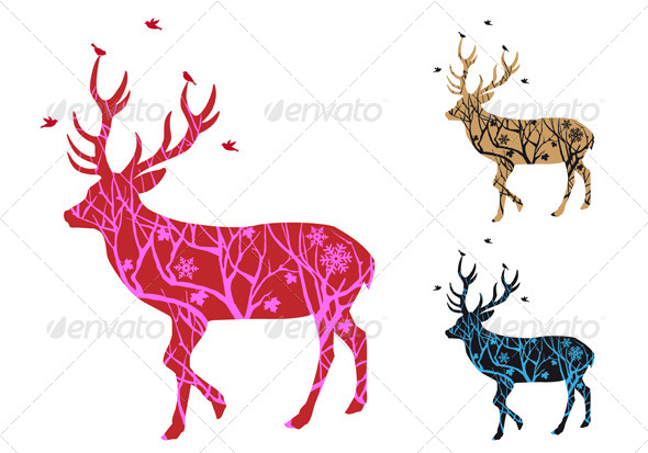 Christmas Deer Silhouette with Birds - Animals Characters