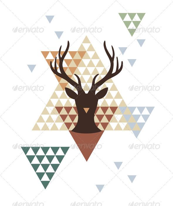 Christmas Deer with Abstract Geometric Pattern - Christmas Seasons/Holidays