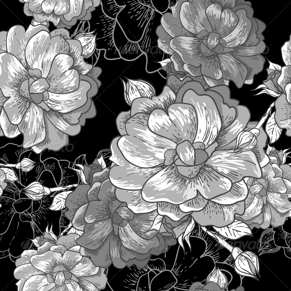 Beautiful Monochrome Seamless Rose Background  - Patterns Decorative