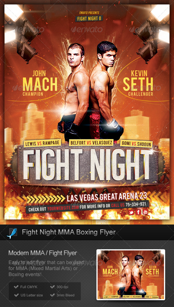 Fight Night MMA Boxing Flyer - Sports Events