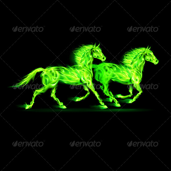 Fire Horses in Green - Decorative Symbols Decorative