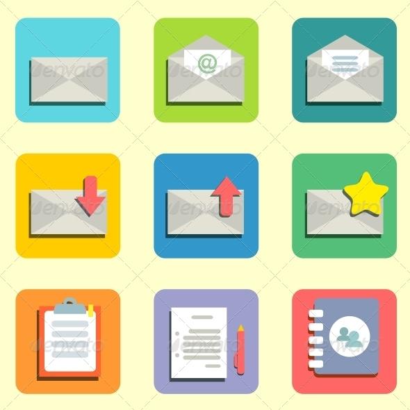 Mail Flat Icons - Web Technology
