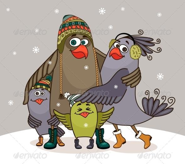 Birds Happy Family - Animals Characters