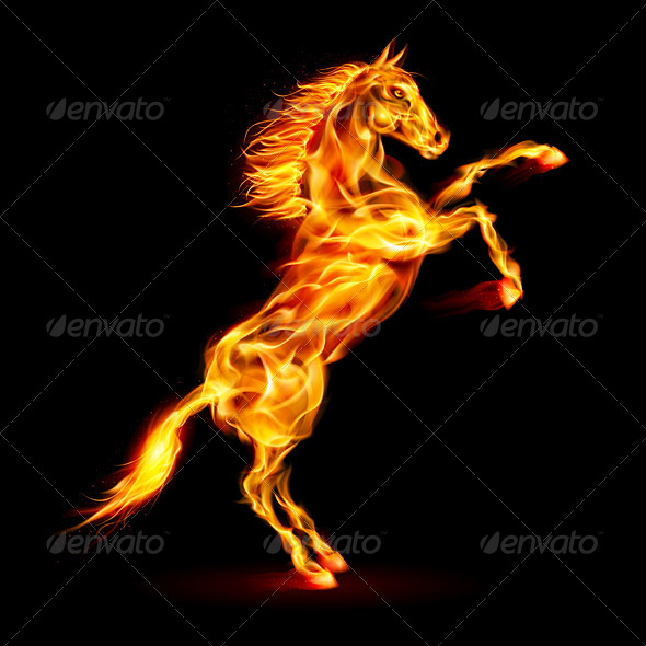 Fire Horse Rearing Up - Tattoos Vectors