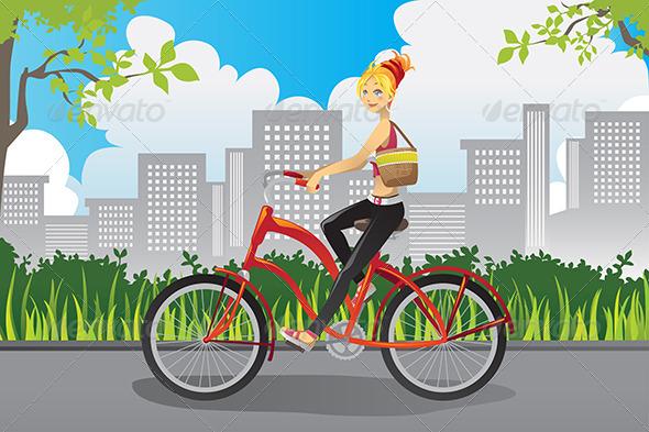 Woman Riding a Bike - Sports/Activity Conceptual