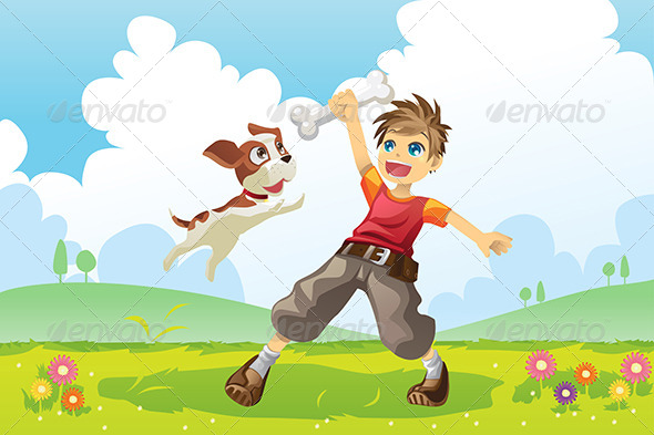 Boy and Dog - People Characters
