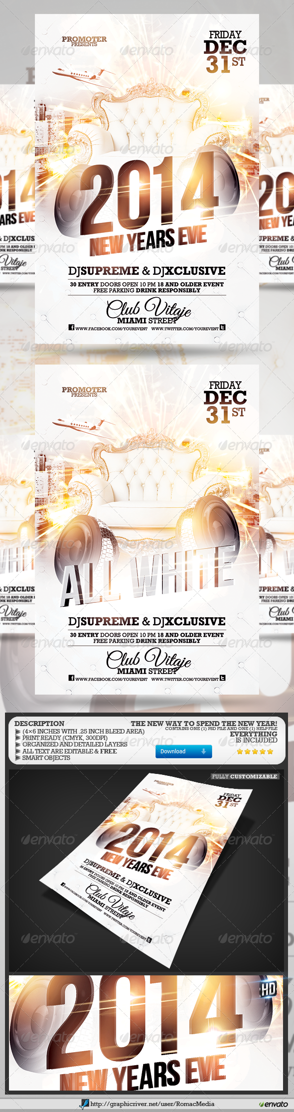 All White NYE Party Flyer - Clubs & Parties Events
