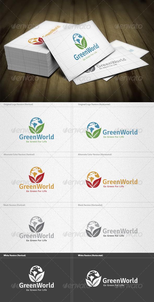 Green World Logo - Nature Logo Templates