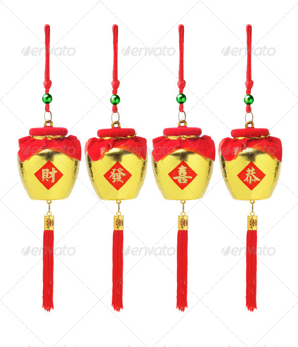 Chinese New Year Golden Pots Ornaments - Stock Photo - Images