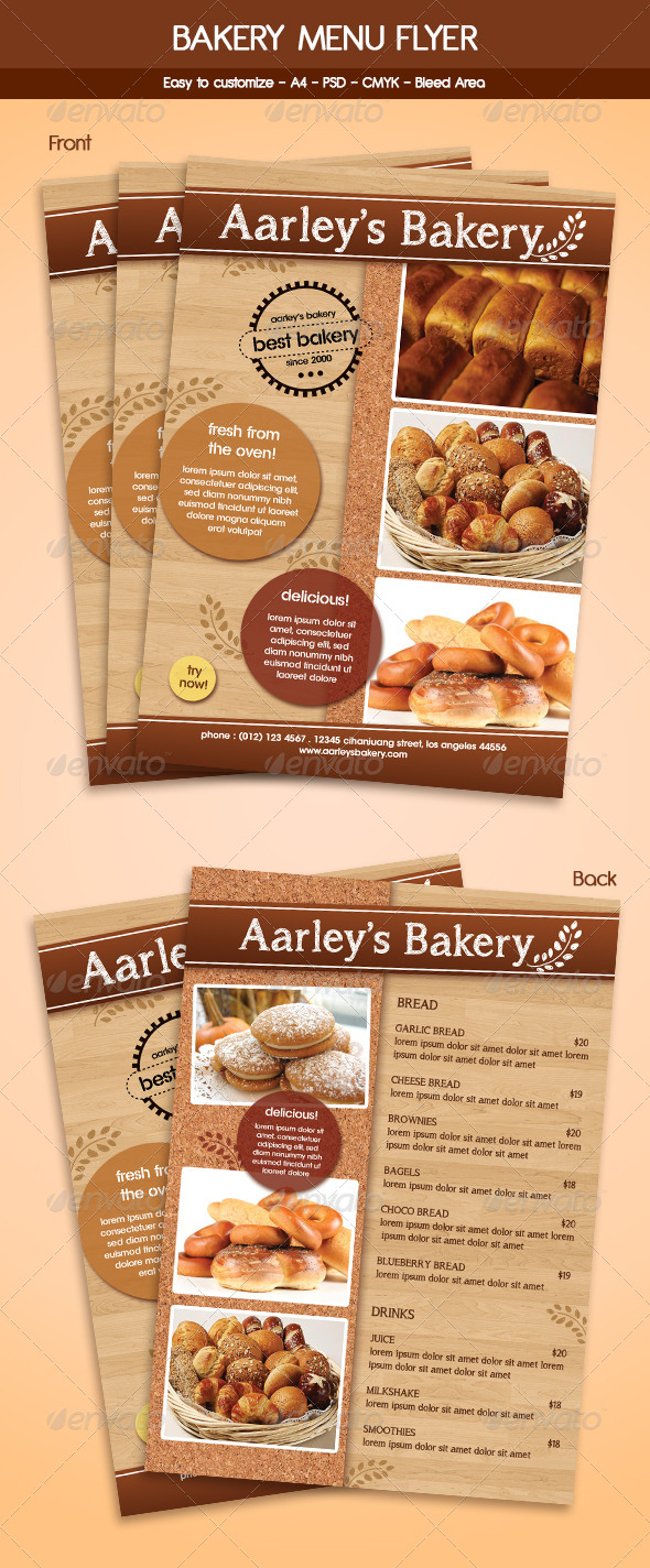 Bakery menu flyer template by arifpoernomo graphicriver bakery menu flyer template food menus print templates thecheapjerseys Images