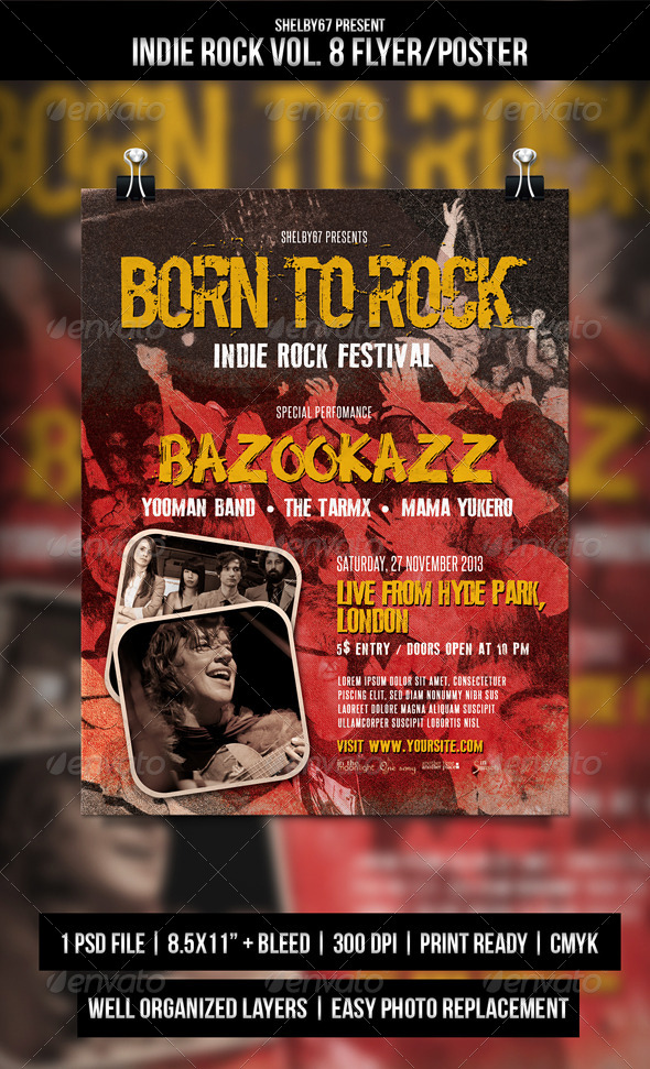 Indie Rock Flyer / Poster Vol. 8 - Events Flyers