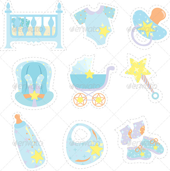 Baby Boy Items Icons - Icons