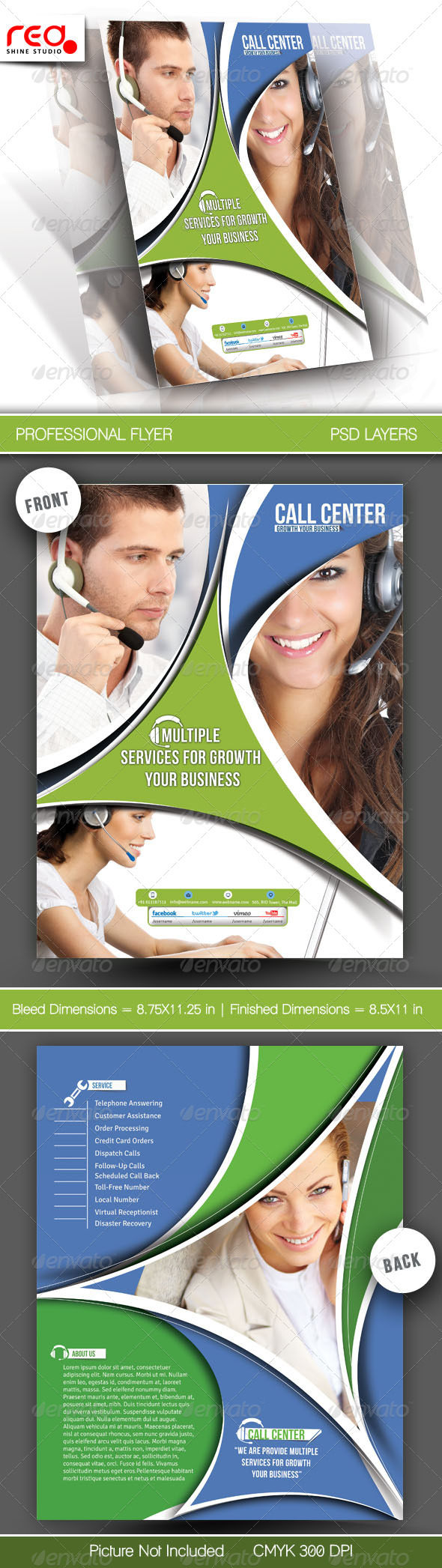 Customer Support Flyer & Poster Template - 2 - Corporate Flyers