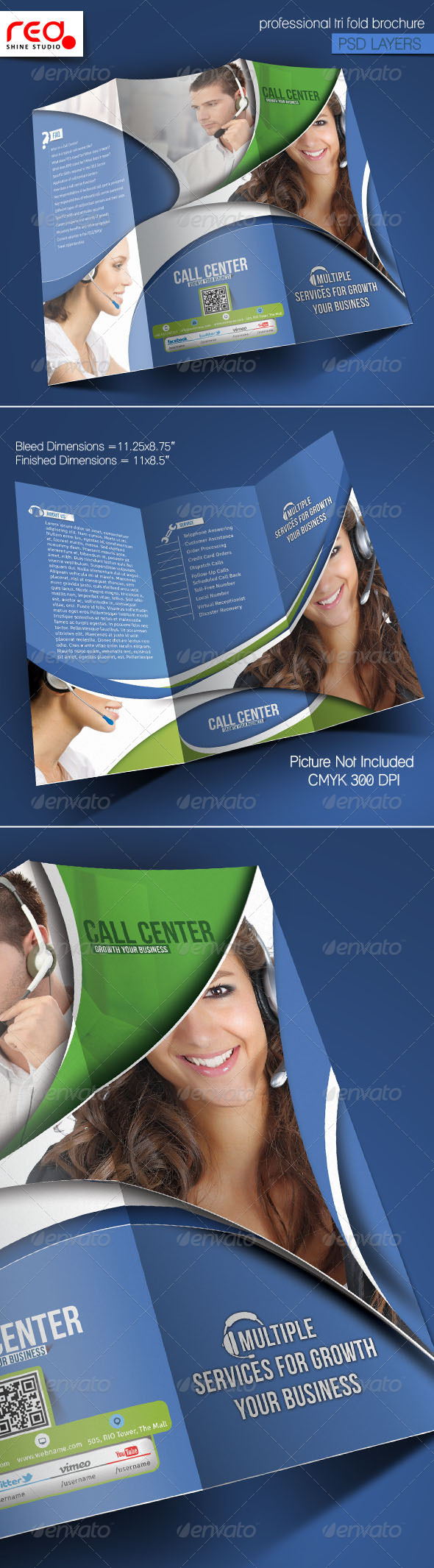 Customer Support Trifold Brochure Template -2 - Corporate Brochures