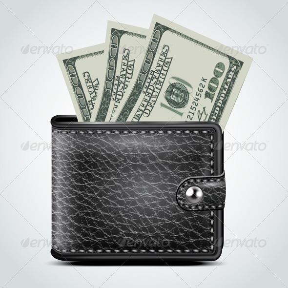 Black Leather Wallet. Dollar USA - Business Conceptual