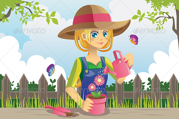 Gardening Woman - People Characters