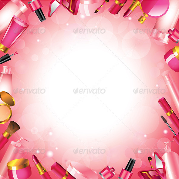 Cosmetics Frame Vector Background - Borders Decorative