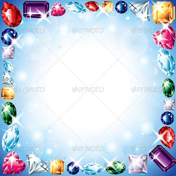 Diamonds and Gemstones Vector Frame - Borders Decorative
