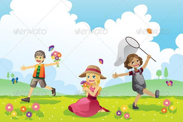 Happy Children in Spring Season - People Characters