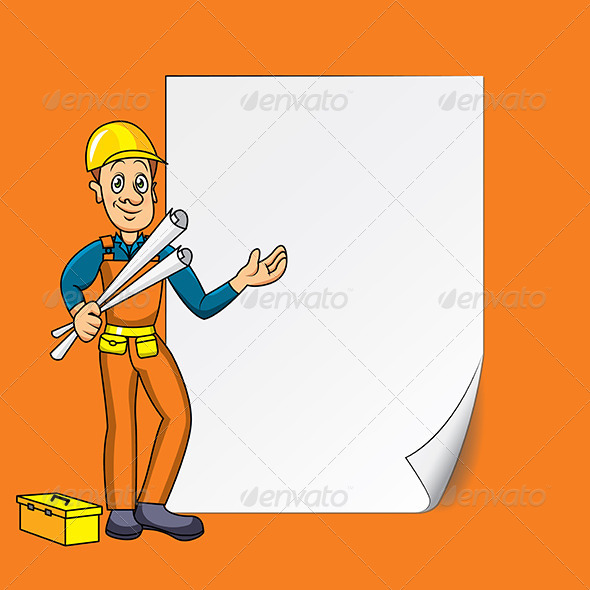 Engineer with Blank Paper - People Characters