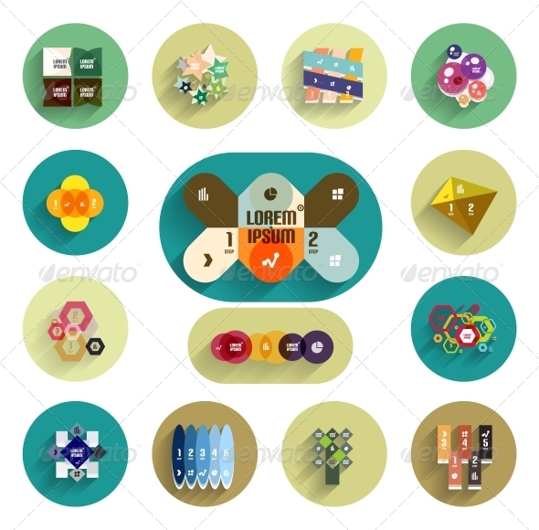 Infographic Inside Colorful Circles. Flat Icon Set - Web Elements Vectors