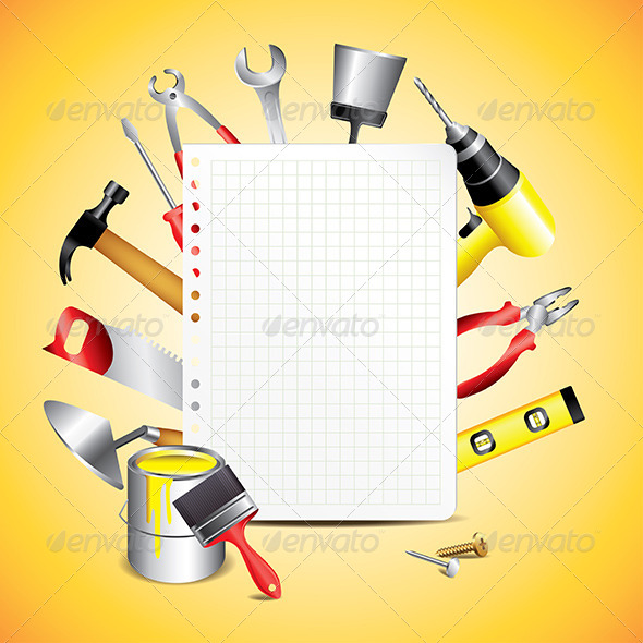 Construction Tools with Blank Paper - Backgrounds Decorative