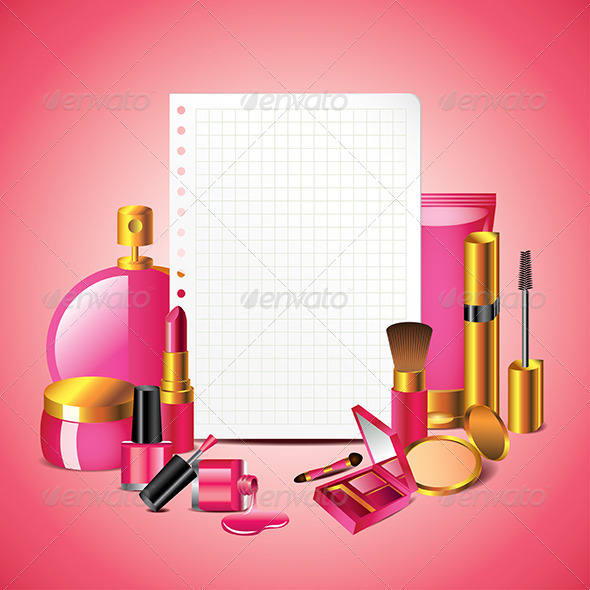 Cosmetics with Blank Paper Vector Background - Backgrounds Decorative