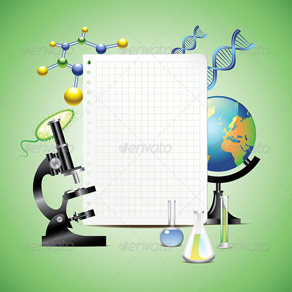Scientific Items with Blank Paper - Backgrounds Decorative