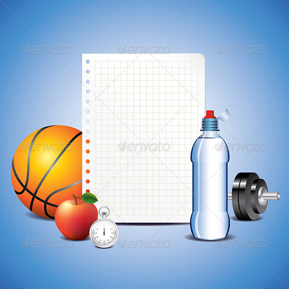 Sport Items with Blank Paper - Backgrounds Decorative