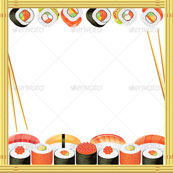 Sushi Frame Vector Background - Borders Decorative