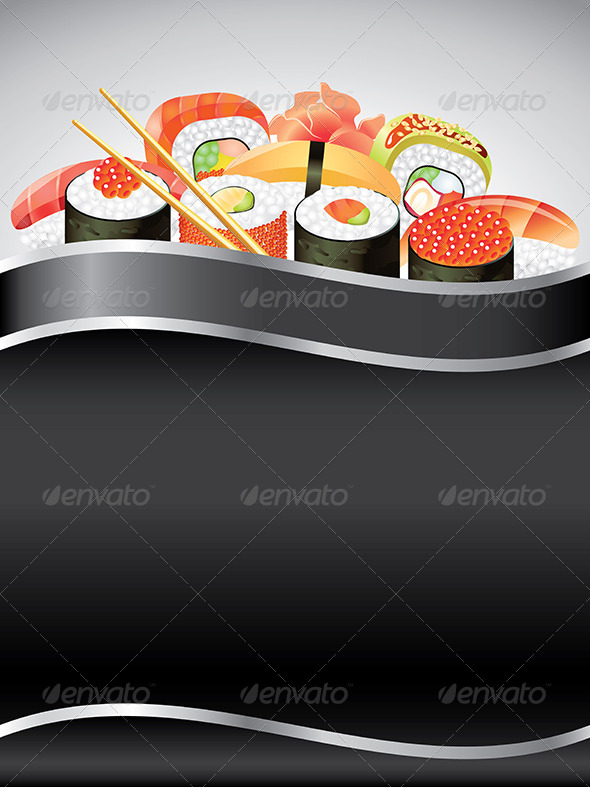 Sushi on Black Vertical Background - Food Objects