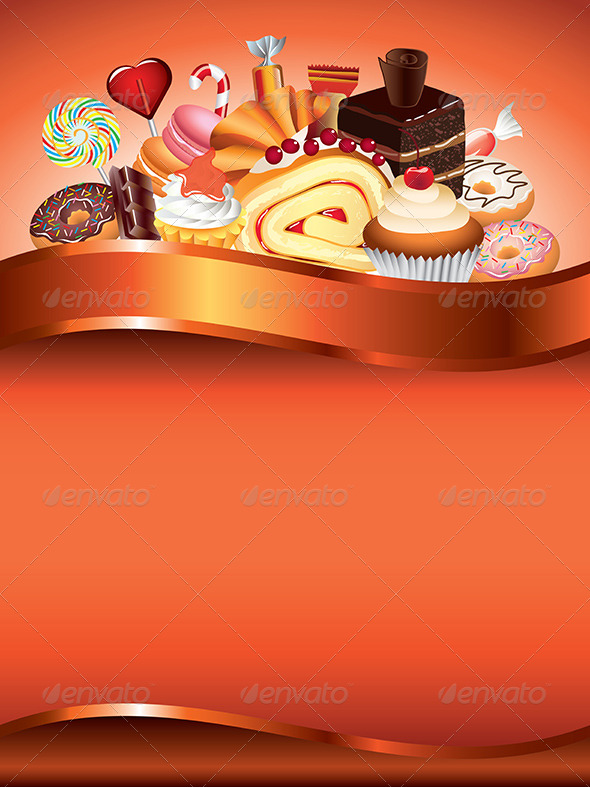 Cakes and Candies Vector Background - Food Objects