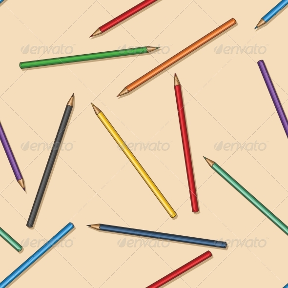 Vector Seamless Pattern of Colored Pencils - Backgrounds Decorative